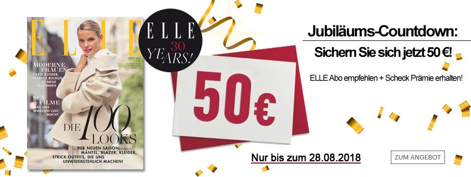 ELLE Jubiläums-Countdown: Sichern Sie sich jetzt 50 €!