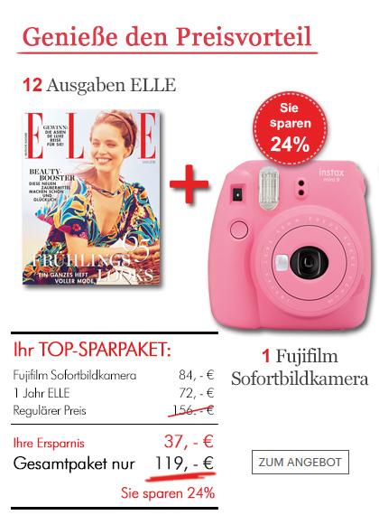 Lesen Sie 12x ELLE und sichern Sie sich eine Fujifilm Sofortkamera!
